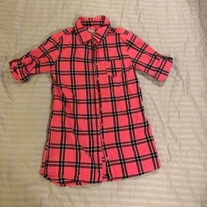 Faded Glory pink Plaid tunic with tab roll sleeves